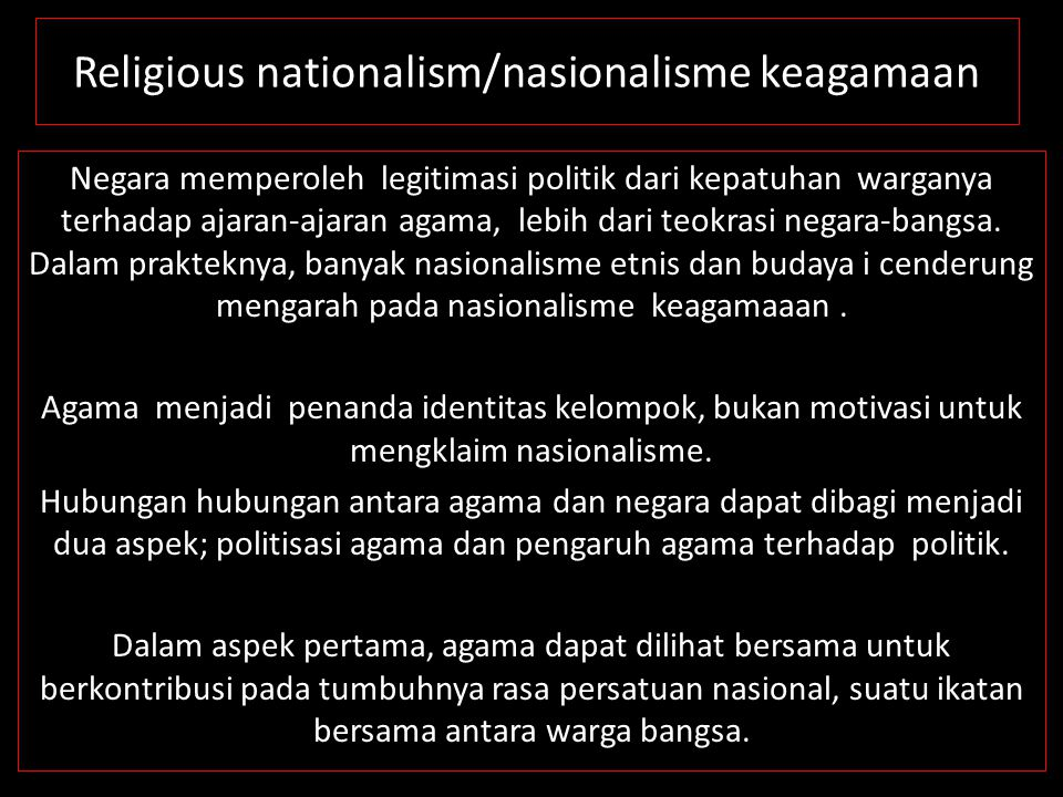 Religious nationalism/nasionalisme keagamaan