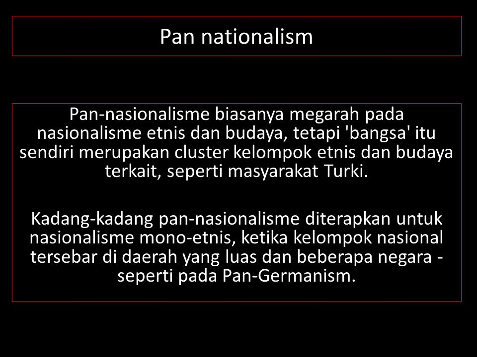 Pan nationalism