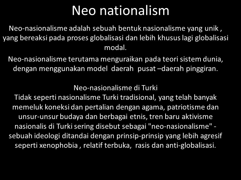 Neo nationalism