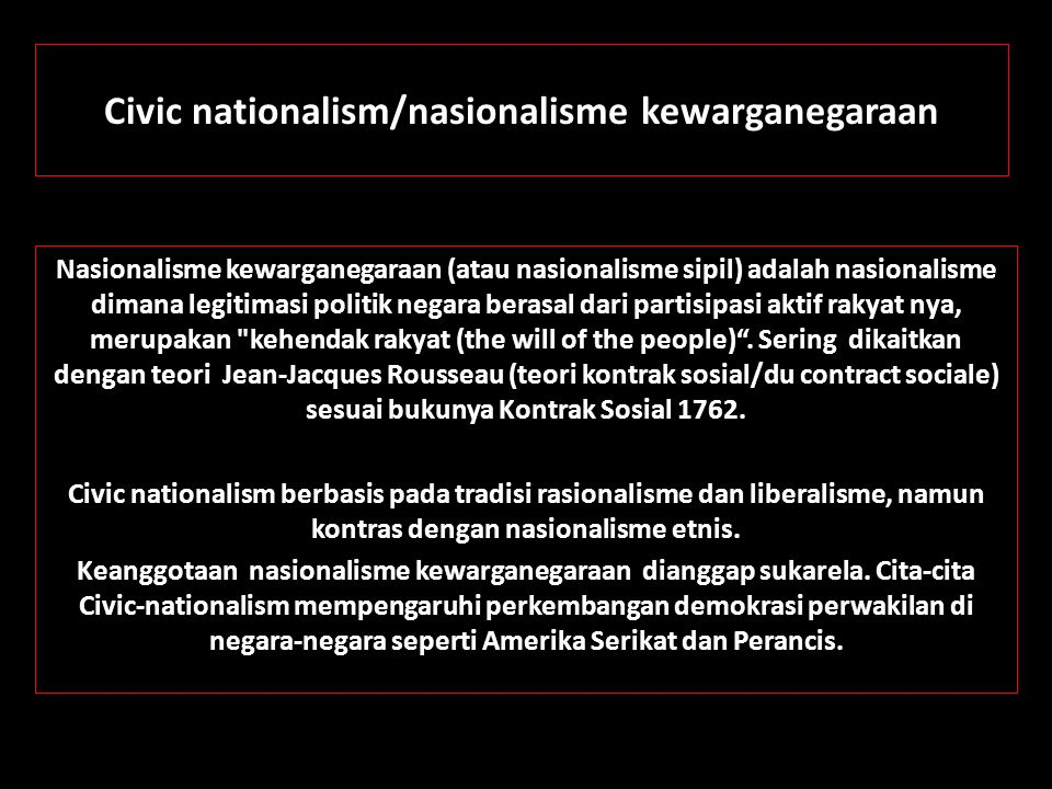 Civic nationalism/nasionalisme kewarganegaraan