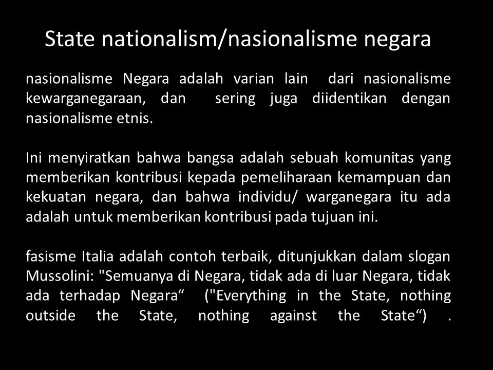 State nationalism/nasionalisme negara