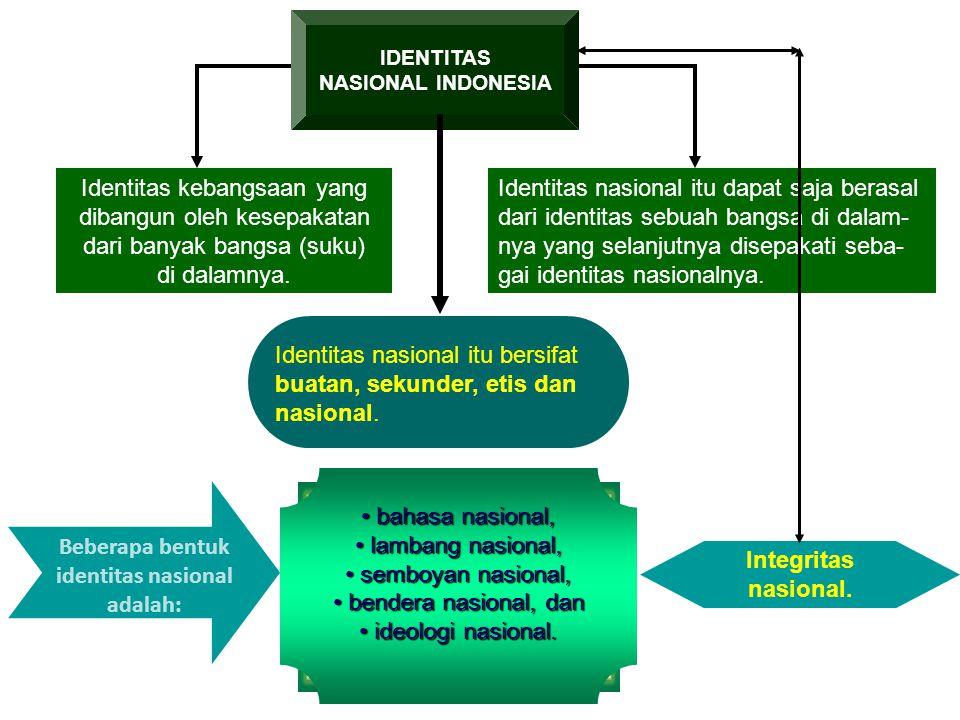 Identitas nasional itu bersifat buatan, sekunder, etis dan nasional.