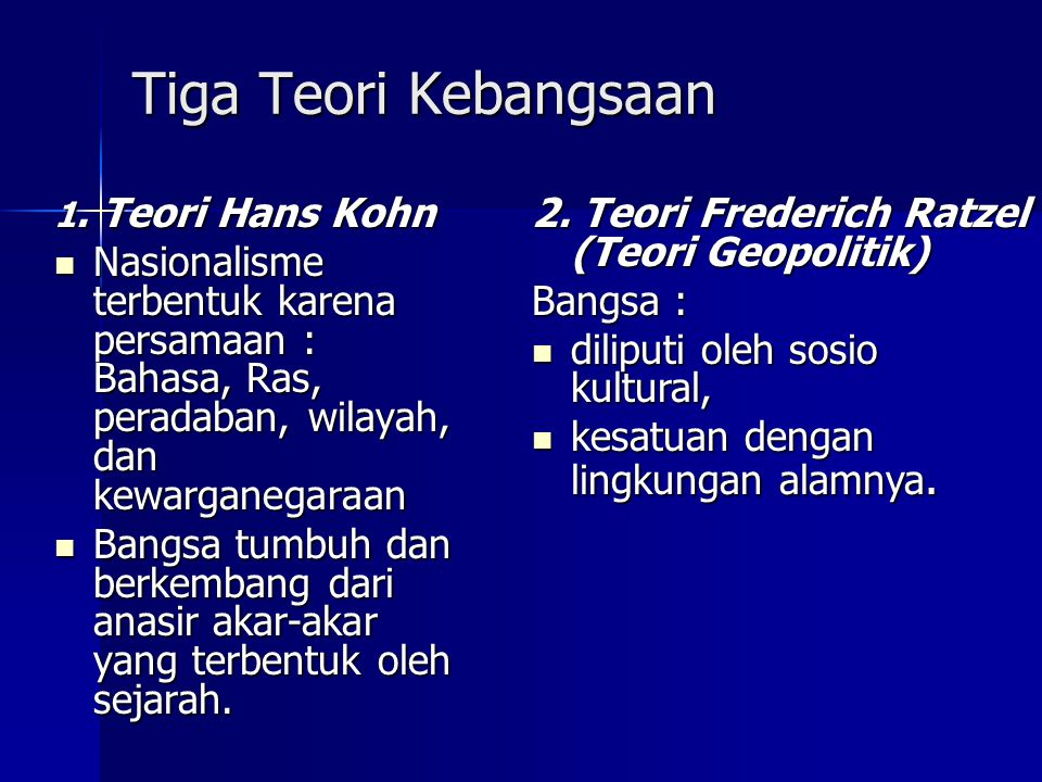 Tiga Teori Kebangsaan 2. Teori Frederich Ratzel (Teori Geopolitik)