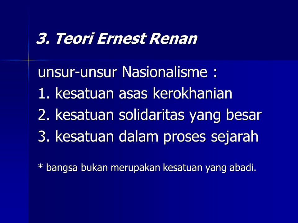 unsur-unsur Nasionalisme : 1. kesatuan asas kerokhanian
