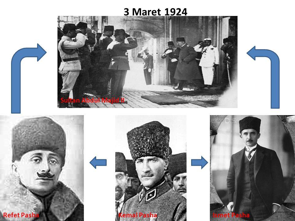 3 Maret 1924 Sultan Abdul Majid II Refet Pasha Kemal Pasha Ismet Pasha