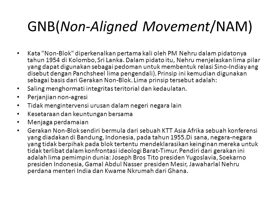 GNB(Non-Aligned Movement/NAM)