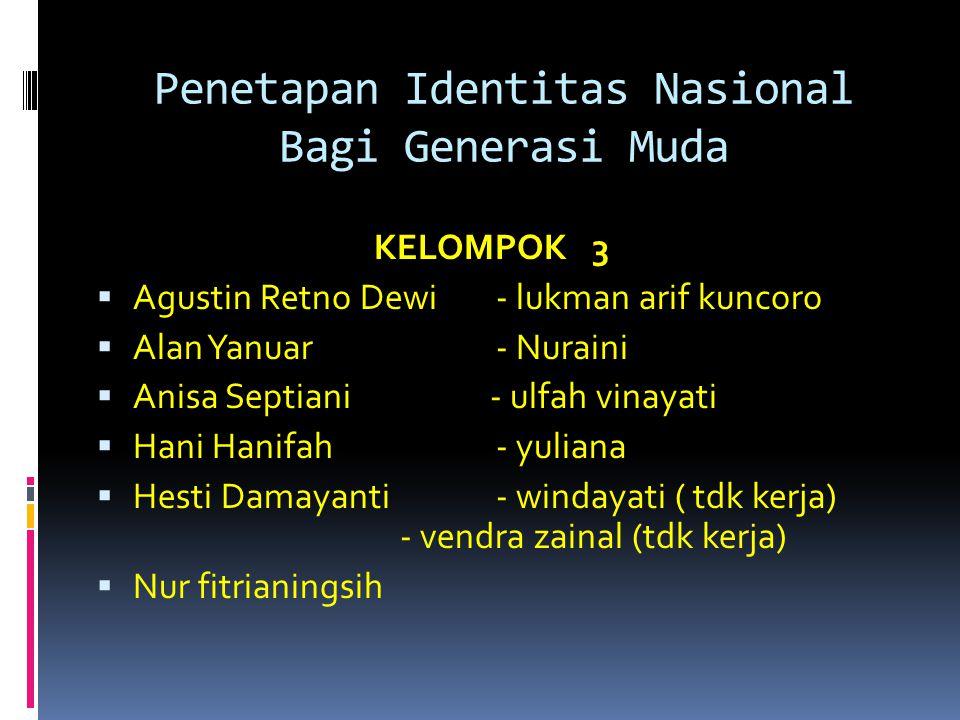 Penetapan Identitas Nasional Bagi Generasi Muda