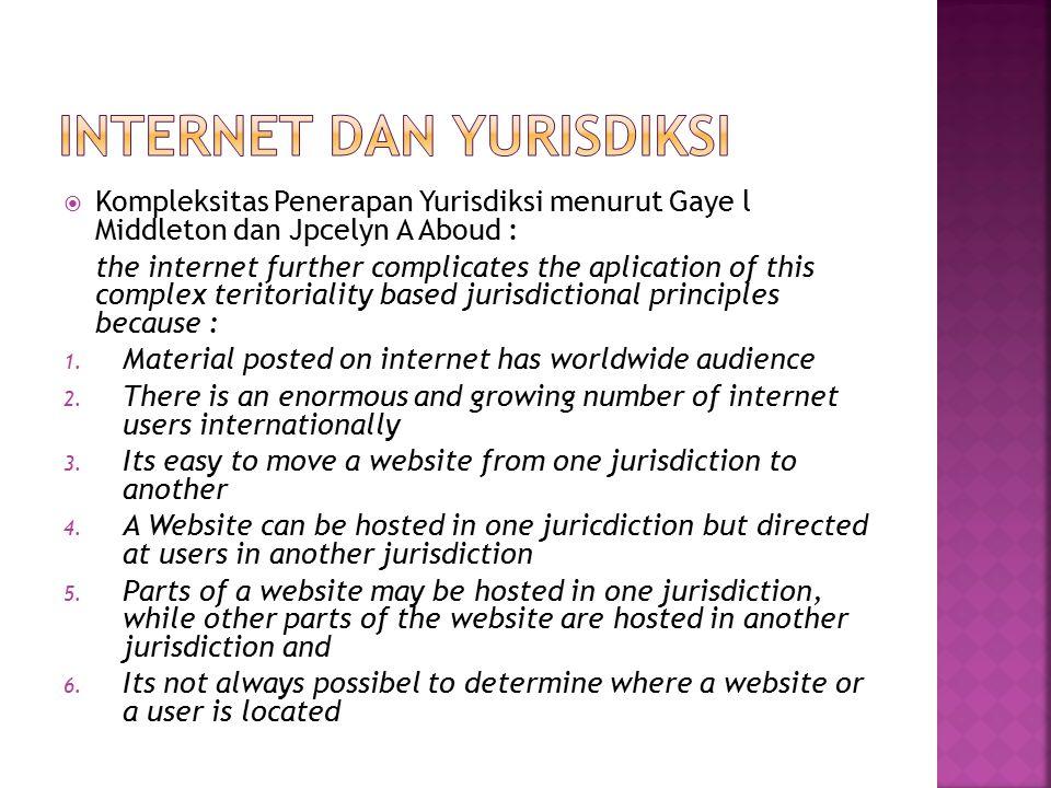 INTERNET DAN YURISDIKSI