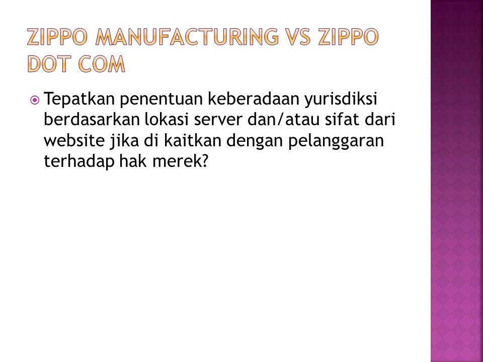 Zippo Manufacturing Vs Zippo dot com