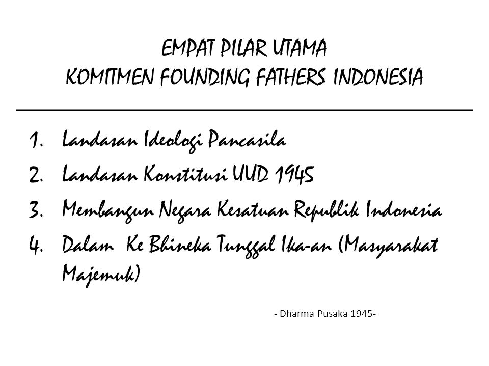 EMPAT PILAR UTAMA KOMITMEN FOUNDING FATHERS INDONESIA