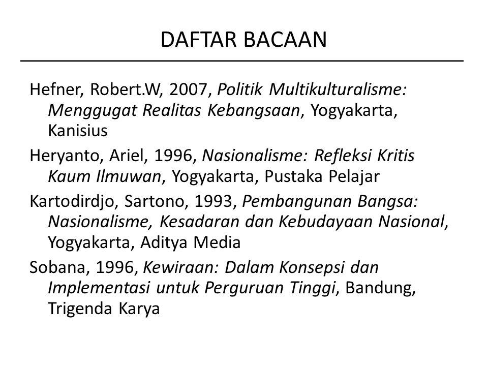 DAFTAR BACAAN Hefner, Robert.W, 2007, Politik Multikulturalisme: Menggugat Realitas Kebangsaan, Yogyakarta, Kanisius.