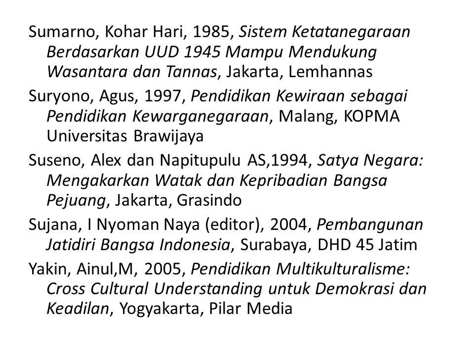 Sumarno, Kohar Hari, 1985, Sistem Ketatanegaraan Berdasarkan UUD 1945 Mampu Mendukung Wasantara dan Tannas, Jakarta, Lemhannas