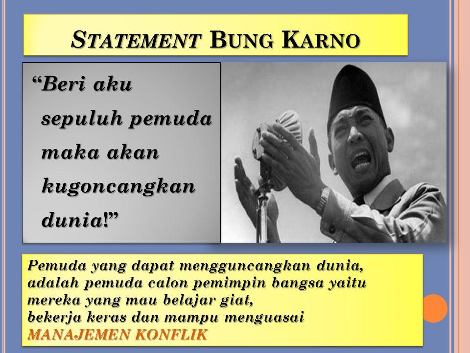 Statement Bung Karno Beri aku sepuluh pemuda maka akan kugoncangkan dunia! Pemuda yang dapat mengguncangkan dunia,
