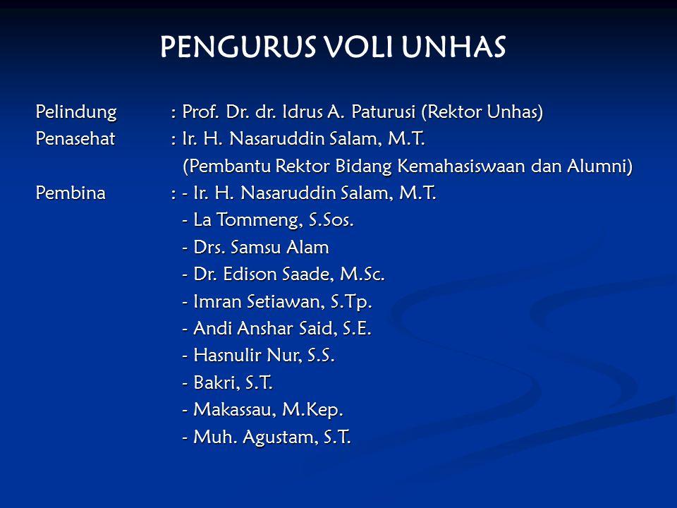 PENGURUS VOLI UNHAS Pelindung : Prof. Dr. dr. Idrus A. Paturusi (Rektor Unhas) Penasehat : Ir. H. Nasaruddin Salam, M.T.