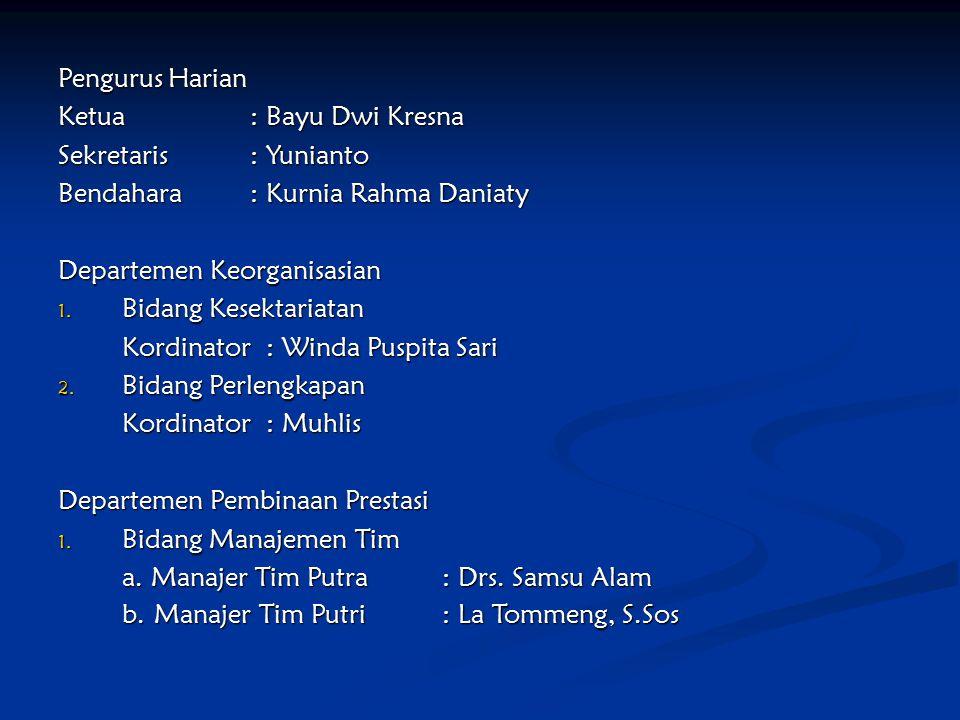 Pengurus Harian Ketua : Bayu Dwi Kresna. Sekretaris : Yunianto. Bendahara : Kurnia Rahma Daniaty.