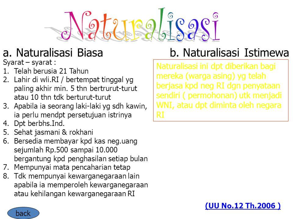Naturalisasi a. Naturalisasi Biasa b. Naturalisasi Istimewa