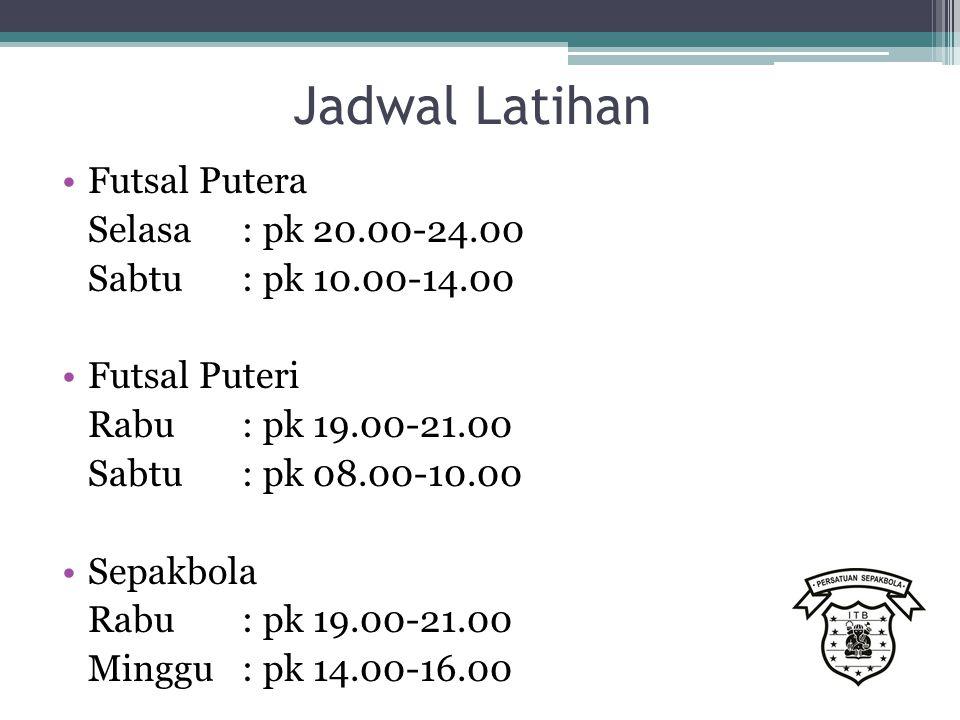 Jadwal Latihan Futsal Putera Selasa : pk 20.00-24.00