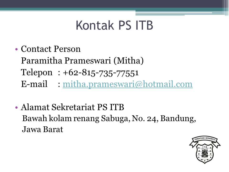 Kontak PS ITB Contact Person Paramitha Prameswari (Mitha)
