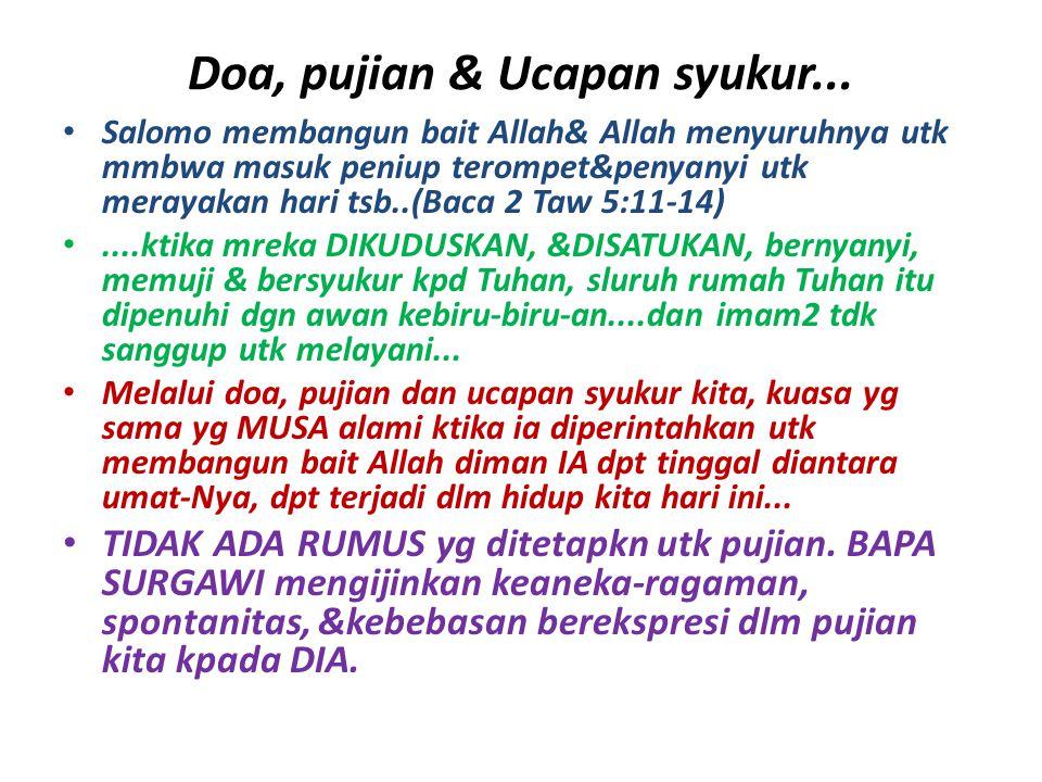 Doa, pujian & Ucapan syukur...