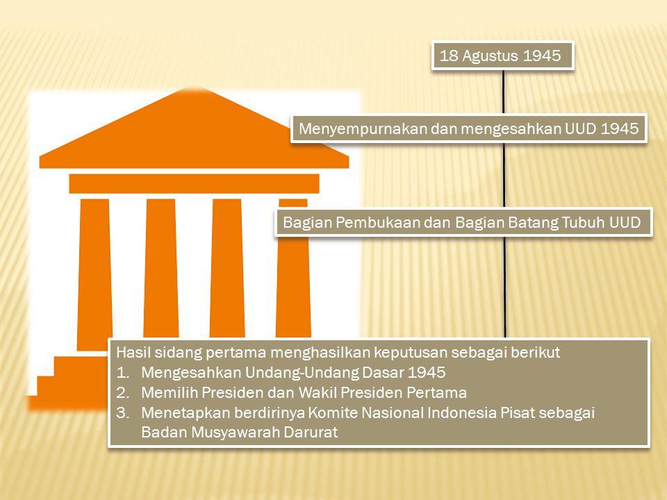 18 Agustus 1945 Menyempurnakan dan mengesahkan UUD 1945. Bagian Pembukaan dan Bagian Batang Tubuh UUD.