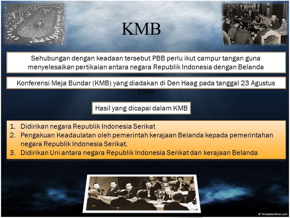 KMB Sehubungan dengan keadaan tersebut PBB perlu ikut campur tangan guna menyelesaikan pertikaian antara negara Republik Indonesia dengan Belanda.