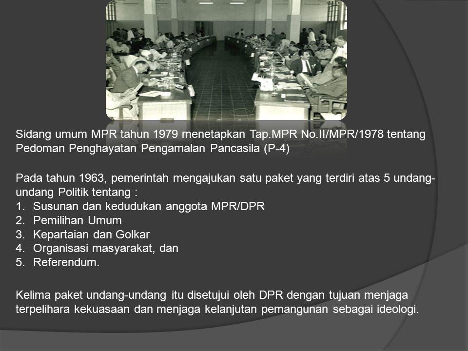 Sidang umum MPR tahun 1979 menetapkan Tap. MPR No
