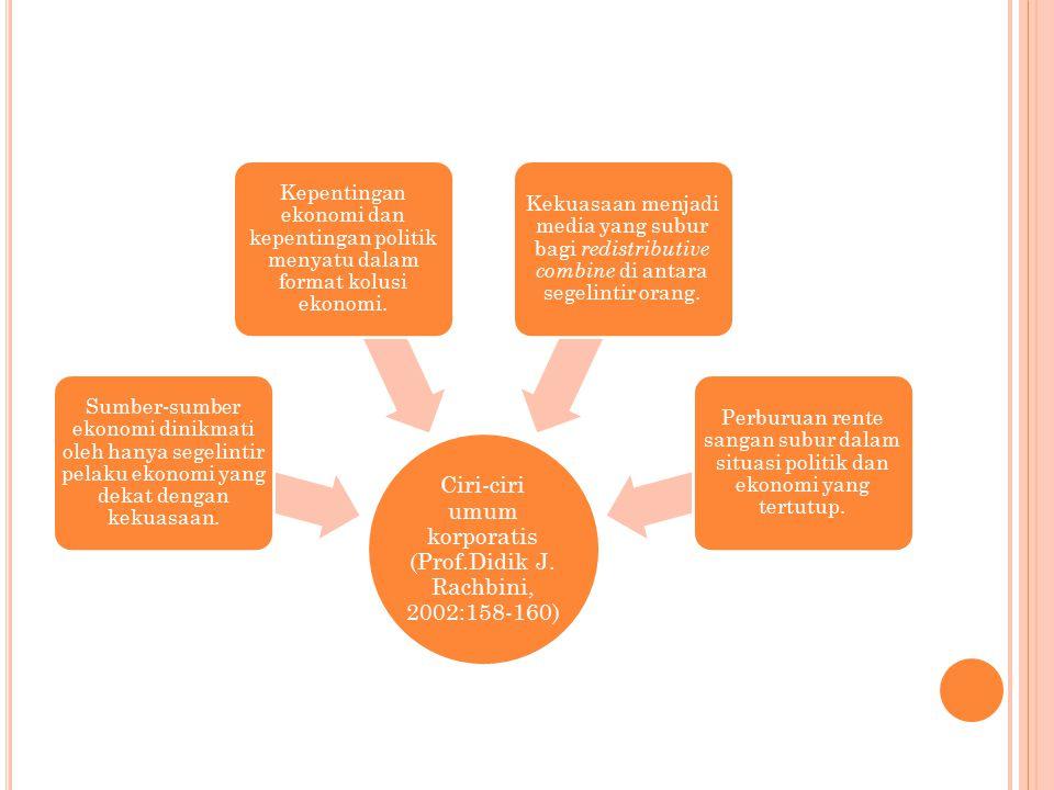 Ciri-ciri umum korporatis (Prof.Didik J. Rachbini, 2002:158-160)
