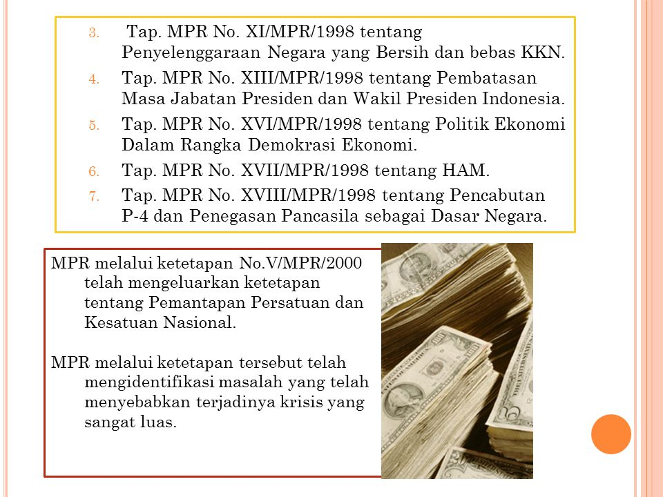 Tap. MPR No. XVII/MPR/1998 tentang HAM.
