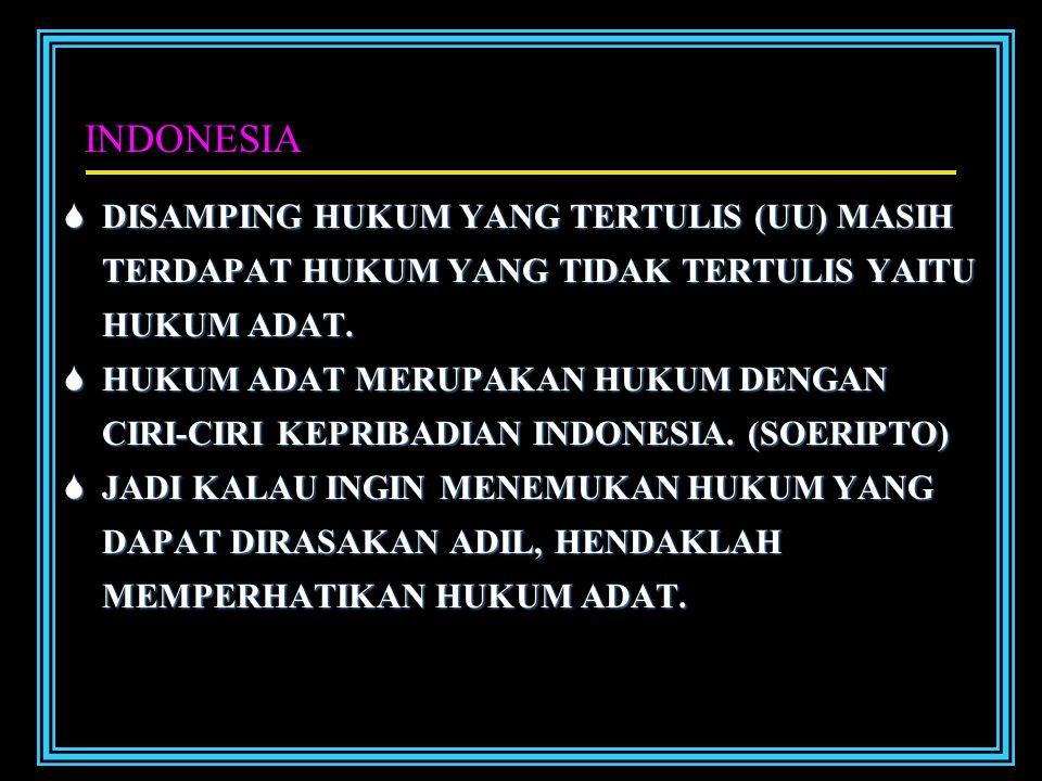 INDONESIA DISAMPING HUKUM YANG TERTULIS (UU) MASIH TERDAPAT HUKUM YANG TIDAK TERTULIS YAITU HUKUM ADAT.