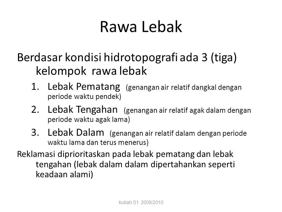 Rawa Lebak Berdasar kondisi hidrotopografi ada 3 (tiga) kelompok rawa lebak.