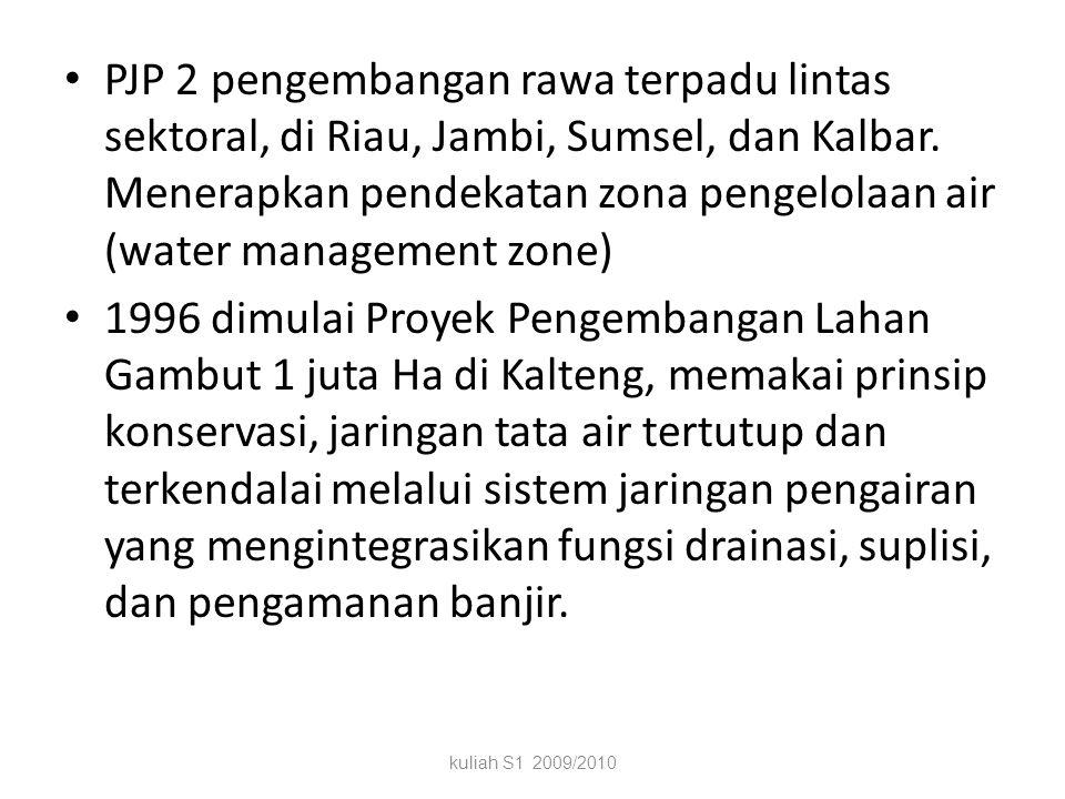 PJP 2 pengembangan rawa terpadu lintas sektoral, di Riau, Jambi, Sumsel, dan Kalbar. Menerapkan pendekatan zona pengelolaan air (water management zone)