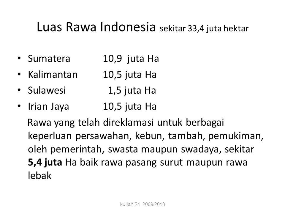 Luas Rawa Indonesia sekitar 33,4 juta hektar