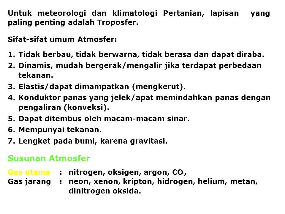 Untuk meteorologi dan klimatologi Pertanian, lapisan yang paling penting adalah Troposfer.