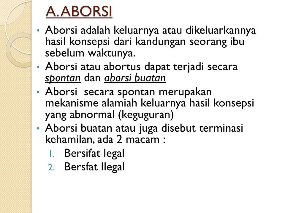 A. ABORSI Aborsi adalah keluarnya atau dikeluarkannya hasil konsepsi dari kandungan seorang ibu sebelum waktunya.