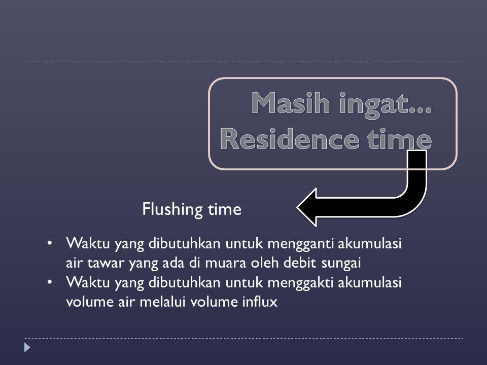Masih ingat... Residence time Flushing time