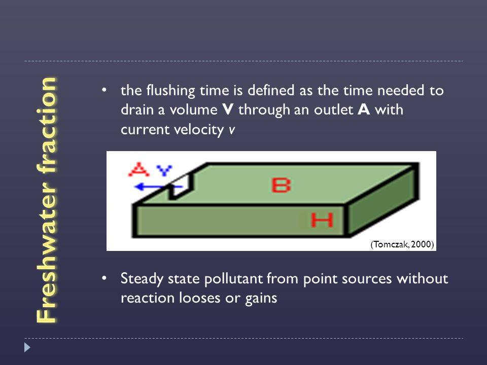the flushing time is defined as the time needed to drain a volume V through an outlet A with current velocity v