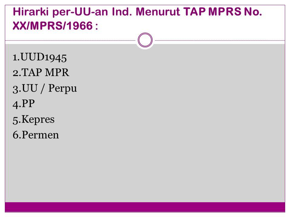 Hirarki per-UU-an Ind. Menurut TAP MPRS No. XX/MPRS/1966 :