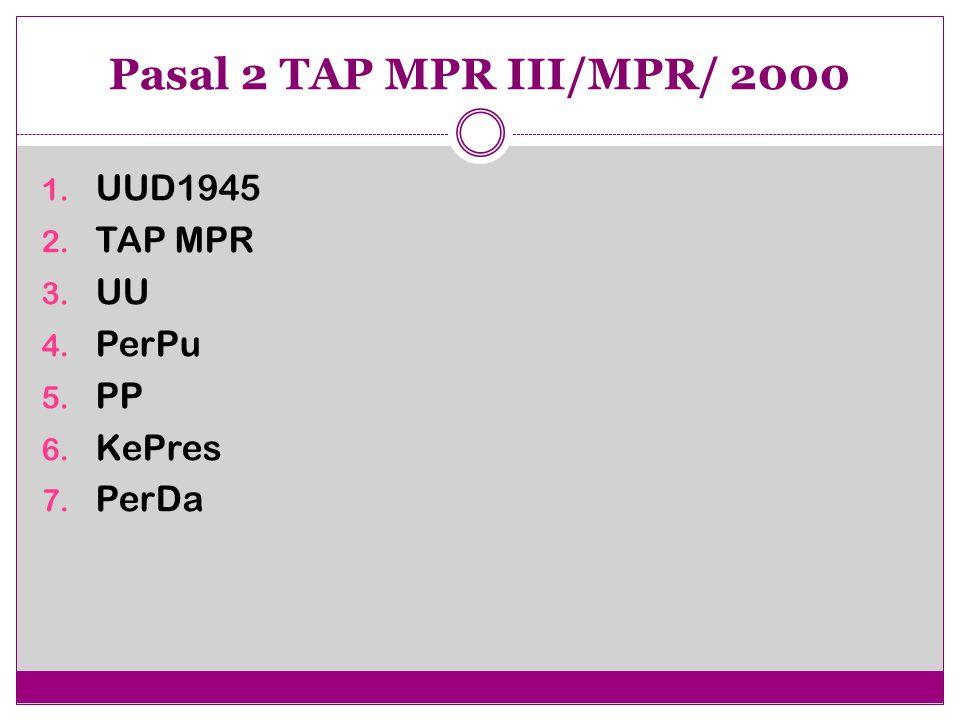 Pasal 2 TAP MPR III/MPR/ 2000 UUD1945 TAP MPR UU PerPu PP KePres PerDa