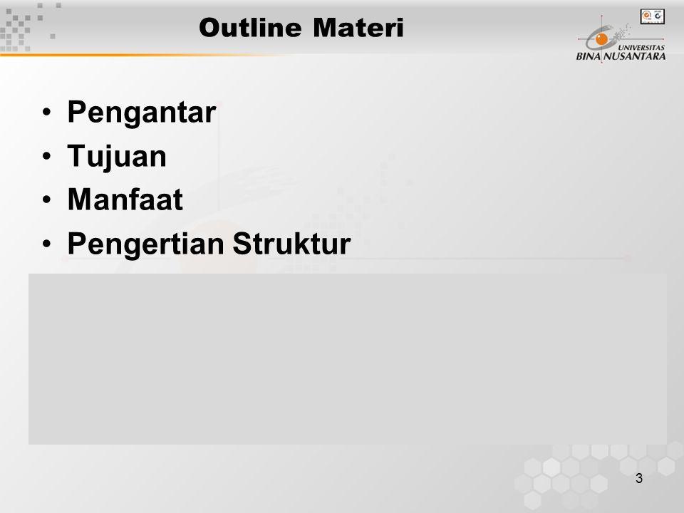 Outline Materi Pengantar Tujuan Manfaat Pengertian Struktur