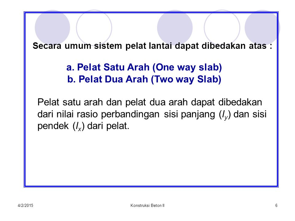 a. Pelat Satu Arah (One way slab) b. Pelat Dua Arah (Two way Slab)