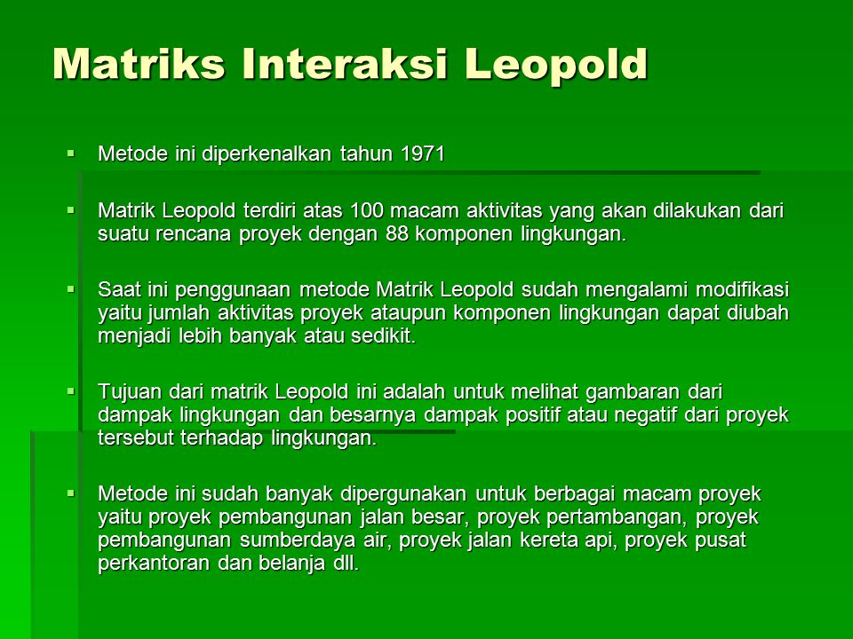 Matriks Interaksi Leopold