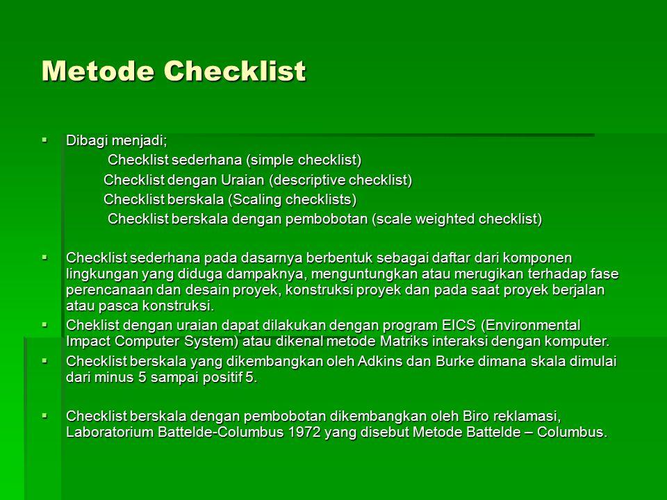 Metode Checklist Dibagi menjadi;
