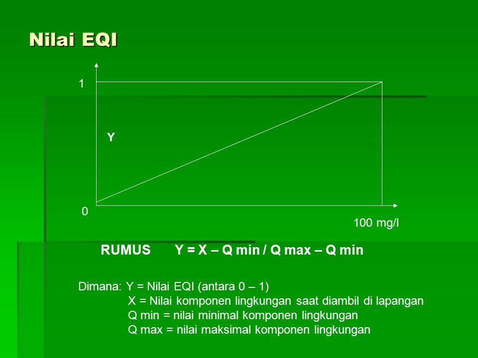Nilai EQI RUMUS Y = X – Q min / Q max – Q min 1 Y 100 mg/l