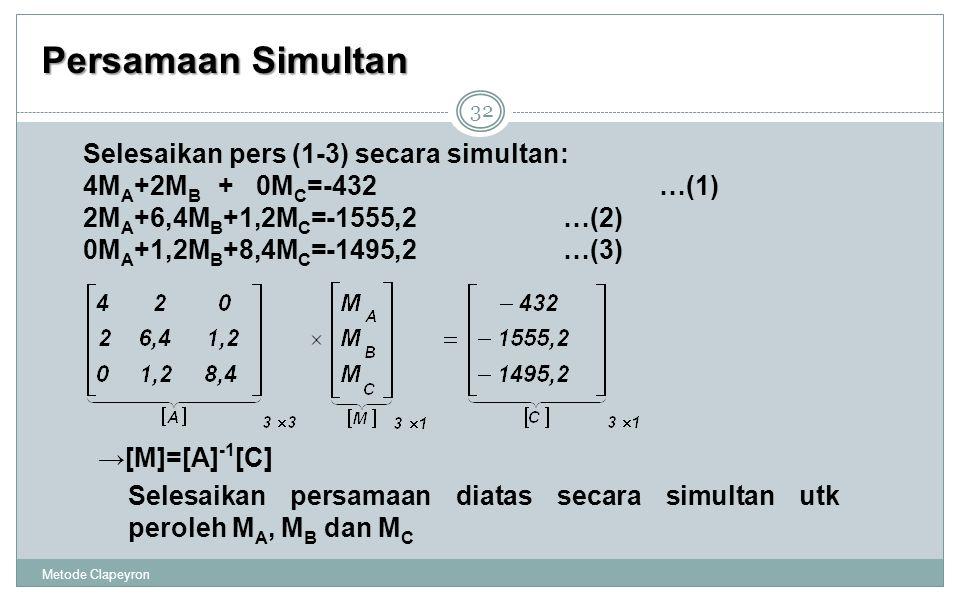 Persamaan Simultan Selesaikan pers (1-3) secara simultan: