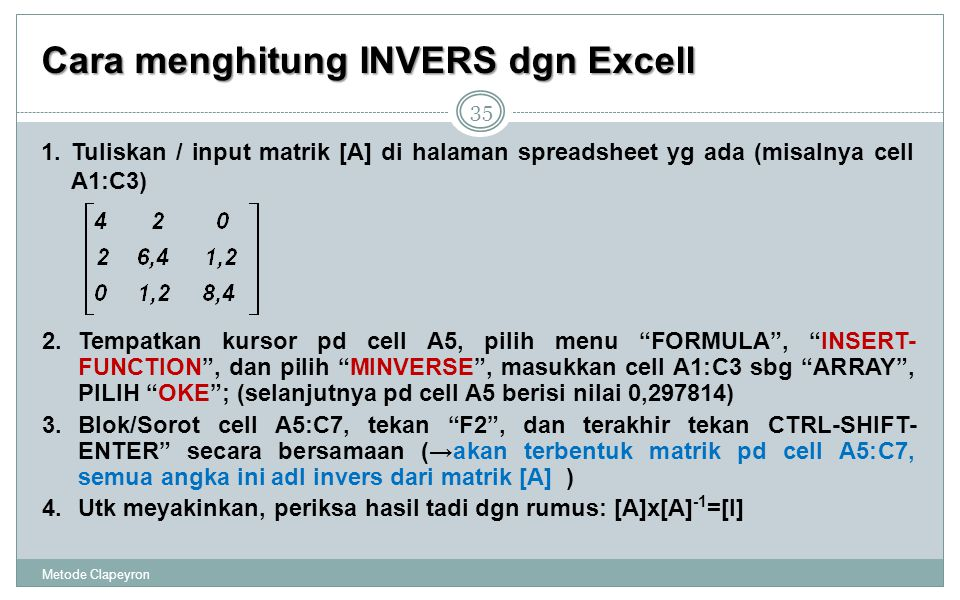 Cara menghitung INVERS dgn Excell