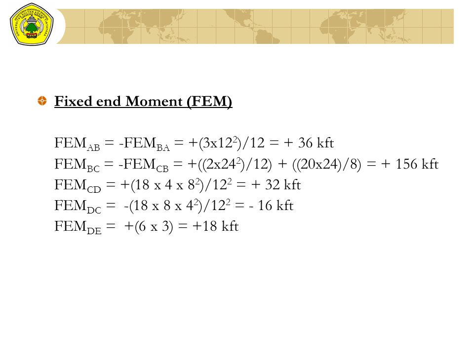 Fixed end Moment (FEM) FEMAB = -FEMBA = +(3x122)/12 = + 36 kft. FEMBC = -FEMCB = +((2x242)/12) + ((20x24)/8) = + 156 kft.