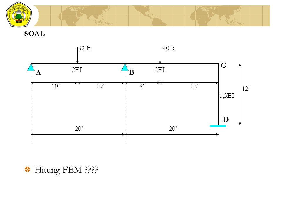 SOAL 32 k 40 k 8' 12' 10' 20' A B C D 2EI 1,5EI Hitung FEM