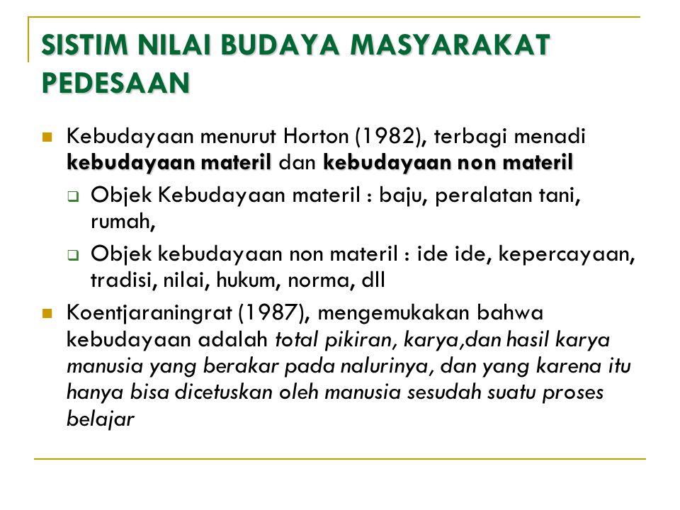 SISTIM NILAI BUDAYA MASYARAKAT PEDESAAN