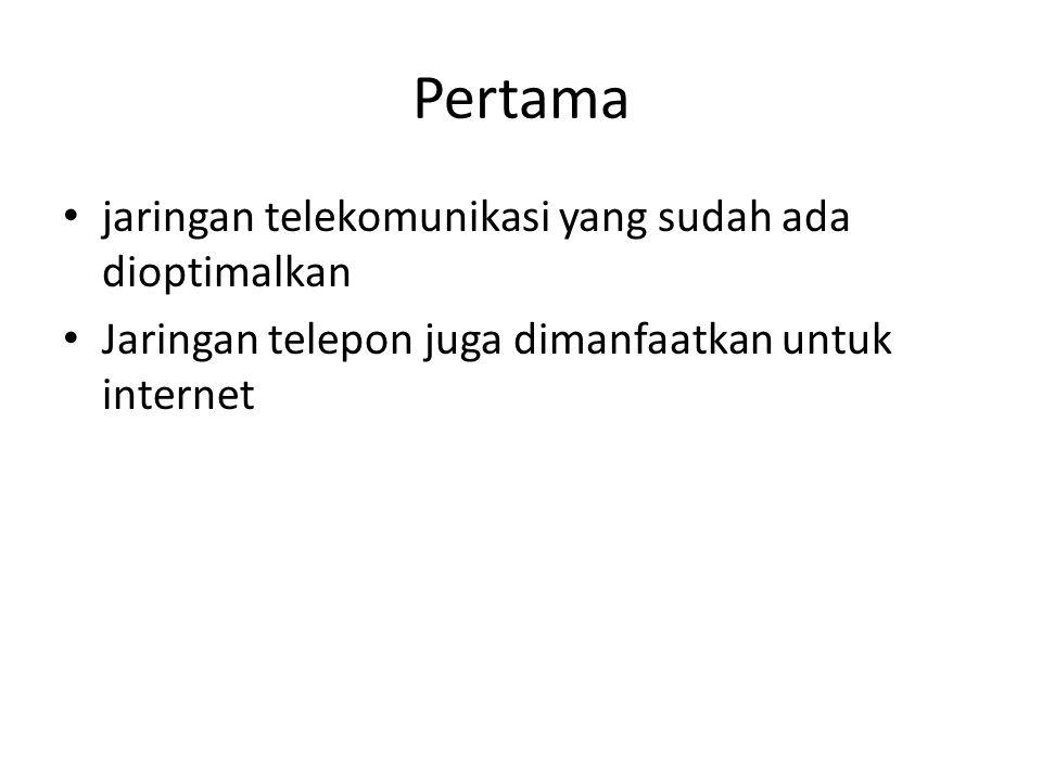 Pertama jaringan telekomunikasi yang sudah ada dioptimalkan