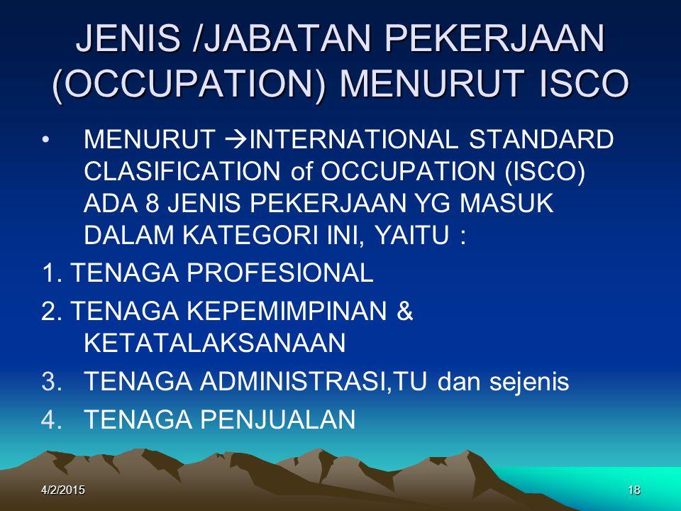 JENIS /JABATAN PEKERJAAN (OCCUPATION) MENURUT ISCO